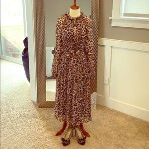 NEW Leopard Midi Tie Waist Dress